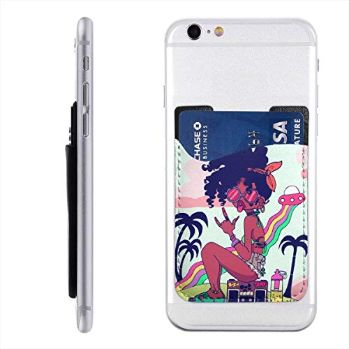 Beach Rock Music African Woman Phone Card Holder, Silicone 3M Adhesive Stick-on ID Credit Card Wallet Phone Case Pouch Sleeve Pocket Compatible with Most of Smartphones