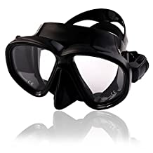 VOAO Anti Fog Tempered Glass Diving Goggles and Snorkel, Scuba Dive Mask with Soft Silicone Skirt and Strap, Suitable for Men, kids and Most Face (Black)