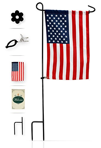 Garden Flag Stand with American Flag by GreenWeR: Wrought Iron Flag Stand, Anti-Wind Clip, Stopper, Weatherproof 2 Sided 12x18 Inch Patriotic US Flag Banner