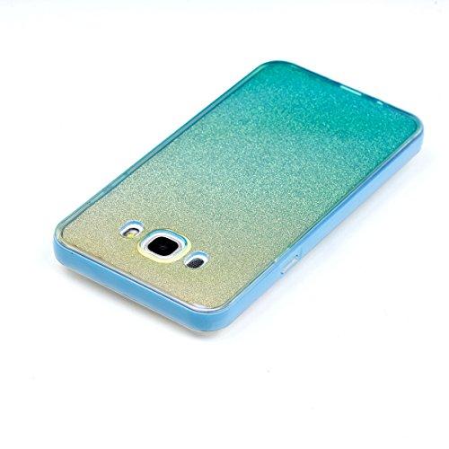 Ukayfe 2 In 1 Funda para Samsung Galaxy J7(2016), Suave Carcasa Caso Parachoques Diseño pintado Patrón para Samsung Galaxy J7(2016),Funda Case Lujo Premium Bling Caja PC Dura Ultra Fina Cubierta Matt  Azul