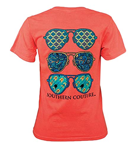 (Southern Couture SC Comfort Wild Aviators Womens Classic Fit T-Shirt - Neon Red Orange, Medium)