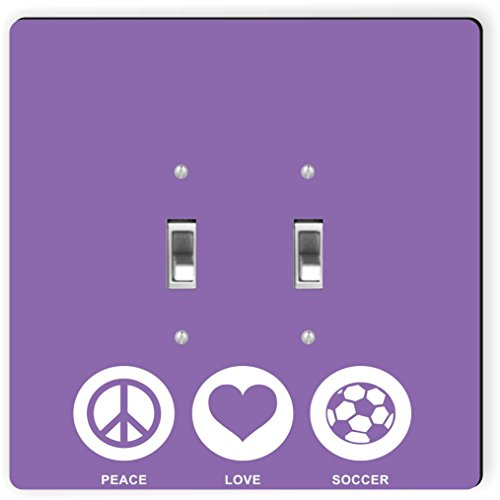 Rikki Knight 42772 Double Toggle Peace Love Soccer Violet Color Design Light Switch Plate by Rikki Knight