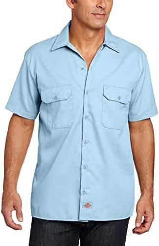 Dickies Men's Short Sleeve Work Shirt (2 Pack - X-Large, Light Blue)