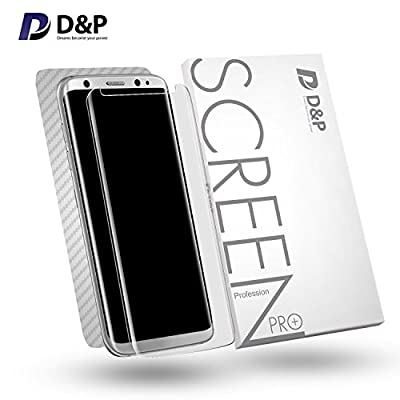 D&P [Case Fit][Ultra Clear] Front 3D High Transparency 9H Tempered Glass Screen Protector (HD Clear) with Back Carbon Fiber [Full] Film for Samsung Galaxy S8+ / Galaxy S8 Plus, Front+Back items