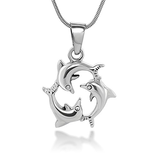 Chuvora Sterling Silver 19 mm Triple Dolphin Love Harmony Friendship Charm Pendant Necklace 18''