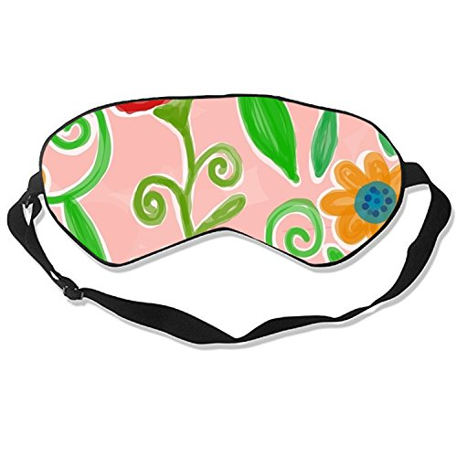 Flower Pooh Sleep Mask Mulberry Silk Eye Masks Blinder with Adjustable Strap for Men Women ()