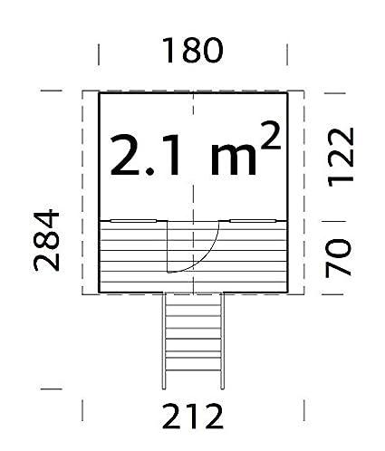 Box, casitas de madera, caseta de jardín para niños, madera de abeto, 16 mm, 2,1 m², 180 x 122 cm: Amazon.es: Hogar