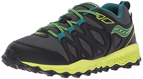 Saucony Kids' Peregrine Shield Sneaker, Black/Lime, 7 Wide US Big Kid - Kid Kick Shield