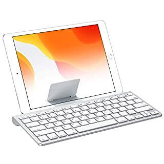 OMOTON iPad 10.2 Keyboard with Sliding Stand, Ultra-Slim Keyboard for iPad 10.2(8th/ 7th Gen)/9.7, iPad Air 10.9/10.5, iPad Mini 5/4, and iPhone [Sliding Stand not for iPad Pro 12.9/11], White