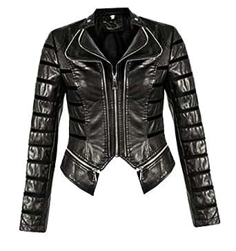 FASHIONGYAL UK W20 Panel Faux Leather PU Biker Double Zip Jacket (10, Black)