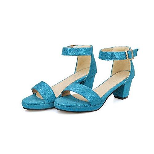 AllhqFashion Mujeres Hebilla Puntera Abierta Tacón embudo Colores Surtidos Sandalia Azul