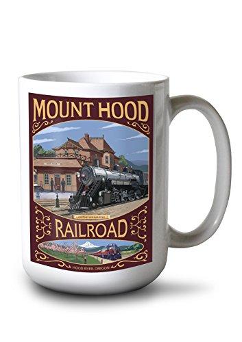 Lantern Press Hood River, Oregon - Mt. Hood Railroad (15oz White Ceramic Mug)