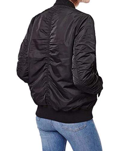 Outwear Donna Di Abbigliamento Manica Accogliente Cappotto Lunga Coreana Giubbino Collo Moto Tasche Elegante Giacca Autunno Schwarz Monocromo Festa Con Laterali Bomber Moda Style Cerniera 5q1XR
