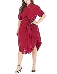 Simplee Plus Women's High Waist Button Down Belt Elegant Midi Shirt Dress Work