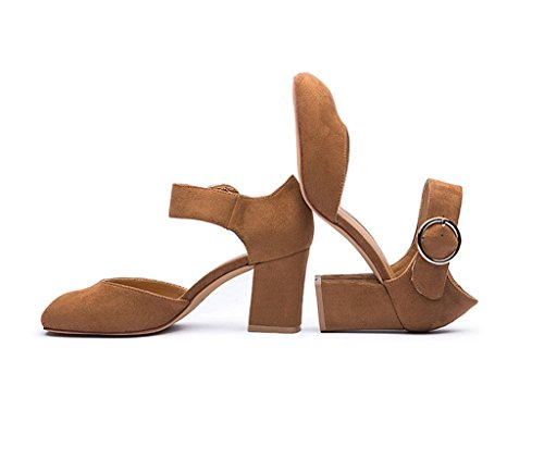 Elegant 1 Word Buckle High Heels Sexy Square Head Buckle With Sole Shoes (Color : Brown, Size : 39)