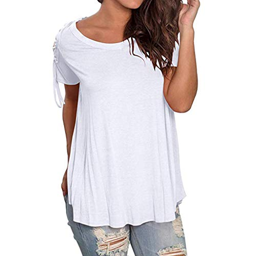 Summer Tshirts for Women Miuye Ruched Hem Plain Short Sleeve Tunic Tops Elegant Belted Sleeve Blouses Tee (S, White)