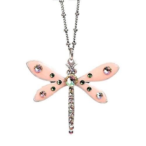 Anne Koplik Swarovski Crystal & Enamel Dragonfly Pendant Necklace 870