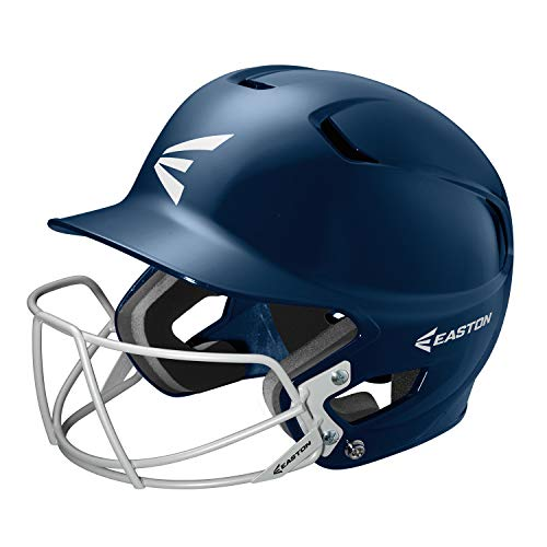 (EASTON Z5 Senior Batting Helmet with Baseball Softball Mask | 2019 | Navy | Unisex | Dual Density Shock Absorption Foam | High Impact Resistant ABS Shell | Moisture Wicking BioDRI liner )