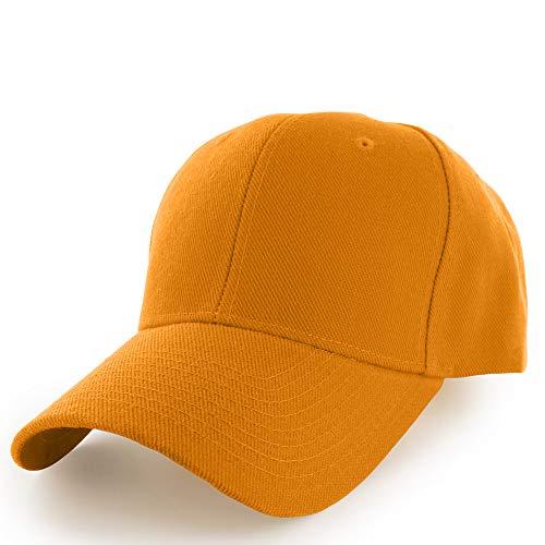 - KANGORA Plain Baseball Cap Adjustable Men Women Unisex   Classic 6-Panel Hat   Outdoor Sports Wear (20+Colors) (Gold)