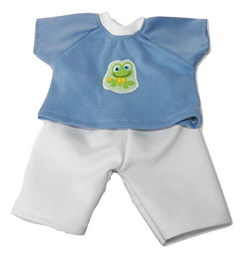 White pants and Appliqued Frog Light Blue T shirt- HANDMADE Clothes for Cabbage Patch kids 16