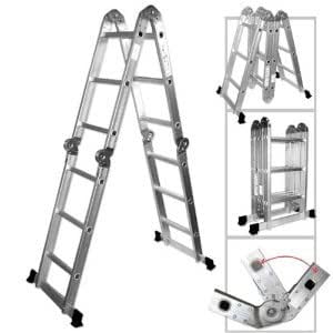 XtremepowerUS Aluminum Multi-Purpose Folding Ladder (12.5' W/ Platform)