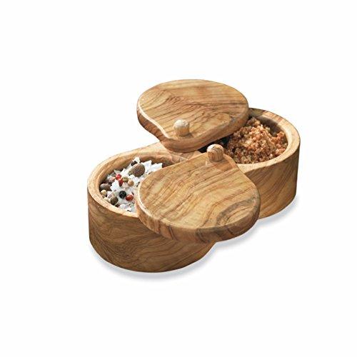 La Tienda Double Olive Wood Salt Keeper from Spain by La Tienda