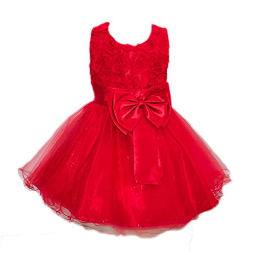 Baby girls Christmas Party Costume Dress Bling Sequins Red Skirt (Red) - 1