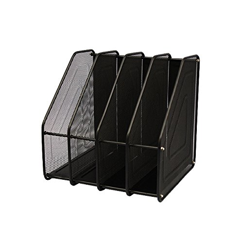 ANHPI Bookcase Creative File Holder Metal Multilayer Data Holder File Box Book Stand Vertical File Holder,Black by ANHPI
