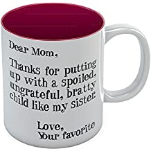 Mother's Day Gift idea For Mom Funny Coffee Mug - Dear Mom: Thanks for Putting Up With a Spoiled Child Like My Sister, Birthday / Xmas Present For Mothers From Daughter, Son Tea Mug 11 Oz. Red