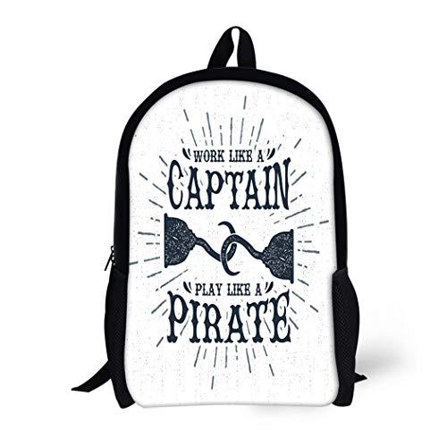 Pinbeam Backpack Travel Daypack Vintage Label Retro Badge Pirate Hook and Work Waterproof School -