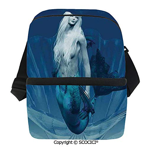 SCOCICI Collapsible Cooler Bag Realistic Mermaid Queen in Ocean Deep Waters Aquatic Fantasy Design Artwork Insulated Soft Lunch Leakproof Cooler Bag for Camping,Picnic,BBQ (Best Bbq In Queens)