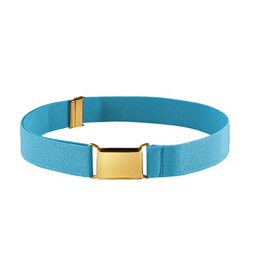 - FIT RITE Kids Elastic Adjustable Stretch Belt for Boys Girls Toddlers With Gold Square Buckle (Coral Blue)