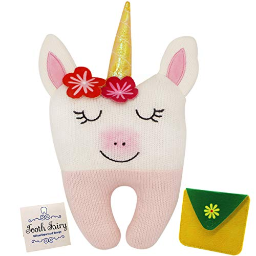 Tooth Fairy Pillow for Girls - Unicorn Themed Keepsake Pillow Set with Notecard and Keepsake Pouches - Perfect Gift for Girls Boys and Unicorn Lovers of All Ages