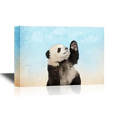 Canvas Wall Art - Cute Panda Raising Its Hand - Gallery Wrap Modern Home Art   Ready to Hang - 12x18 inches