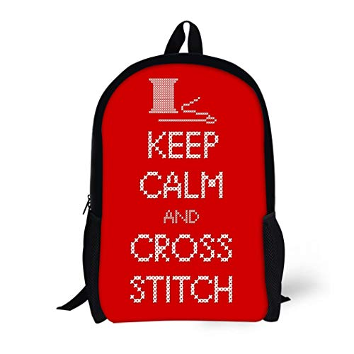 Pinbeam Backpack Travel Daypack Needle and Thread Keep Calm Cross Stitch Sampler Waterproof School Bag ()