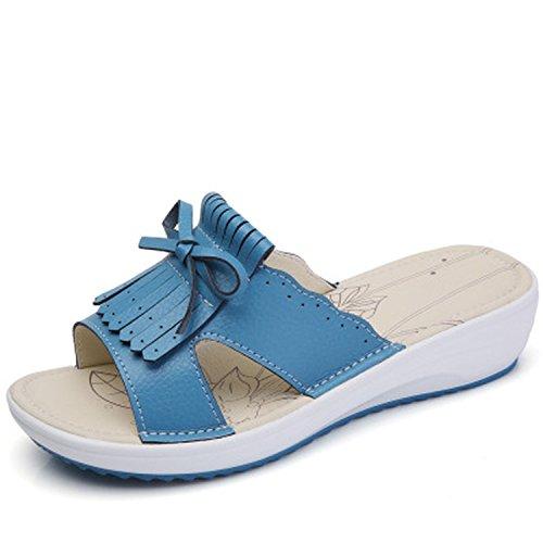 Flops Flip Platform Leather Wedges Flats Women Cow Women's Baolustre Blue1 Sandals New 4xwqzz0v