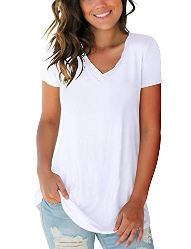 (PARPERNA Women's Tunic Blouse Comfy Casual Short Sleeve Tops Blouse Tunic T Shirts)