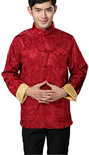 Blingland Chinese Traditional Uniform Top KungFu Shirt for Men US M Asia L-Red+Gold Photo #2