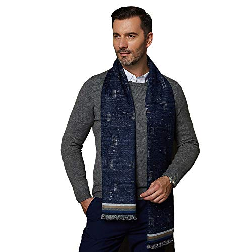 CUDDLE DREAMS Men's Silk Scarves, 100% Mulberry Silk Brushed, Luxuriously Soft (Multi Navy) ()