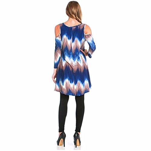 DOLDOA Mujeres O Cuello manga corta de gradiente de impresión Casual Mini vestido corto Azul