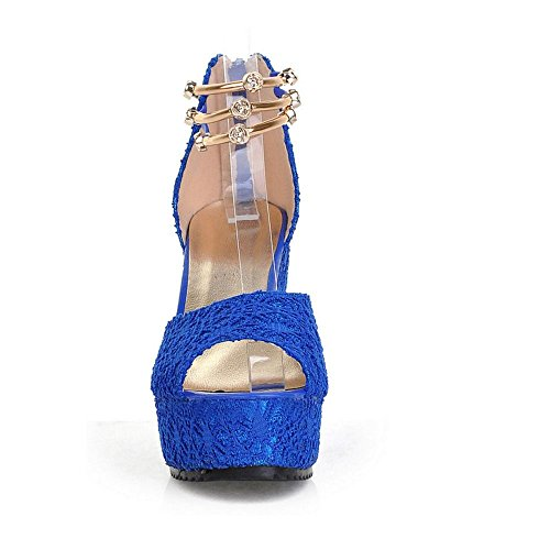 Perle Sangle Peep Toe Chaussures Femme de Sandales Compensees Cheville Bleu Talons Elegant RAZAMAZA fXxqSwvS