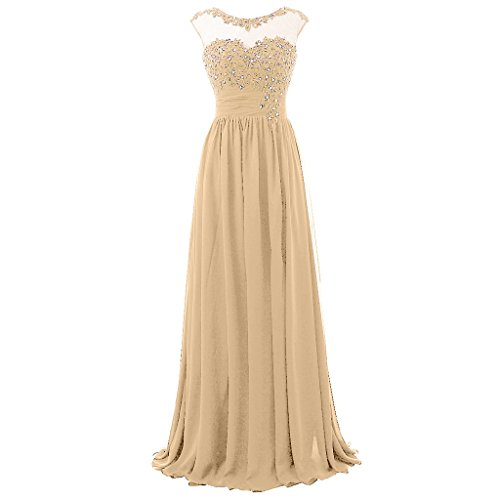 Dress Chiffon Sequined Bust (Blevla Cap Sleeve Sequined Chiffon Bridesmaid Prom Dresses Formal Gowns Champagne US 16)