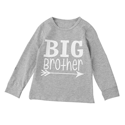 New Baby Toddler Boys Long Sleeve T Shirt Tops Kids Child Autumn Winter Letter Big Brother Outfits Clothes 2-6T Outdoor Gray