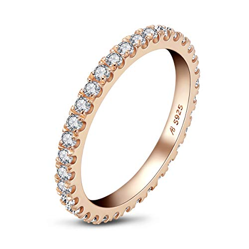AINUOSHI Erllo 2mm Full Eternity Bands for Women 925 Sterling Silver Micropave Cubic Zirconia Ring (Rose Gold Color, 6.5) from AINUOSHI