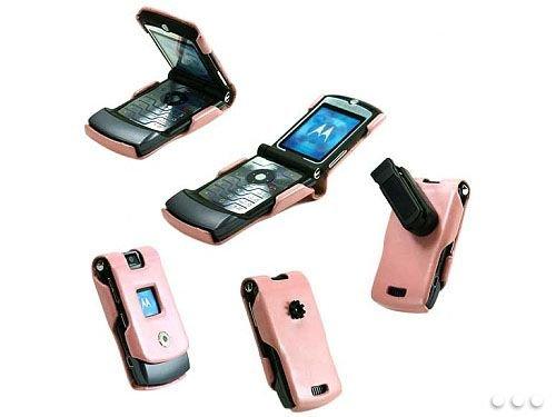 PINK CELLET LEATHER PROGUARD CASE COVER (WITH DETACHABLE BELT CLIP) for MOTOROLA RAZR V3 V3M (V3m Cell Phone Case)