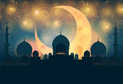 Hall Silhouette - LFEEY 5x3ft Mosque Town Hall Silhouette Backdrop Shiny New Moon and Stars Religion Islamic Holiday Ramadan Eid Mubarak Photography Background Photo Studio Props
