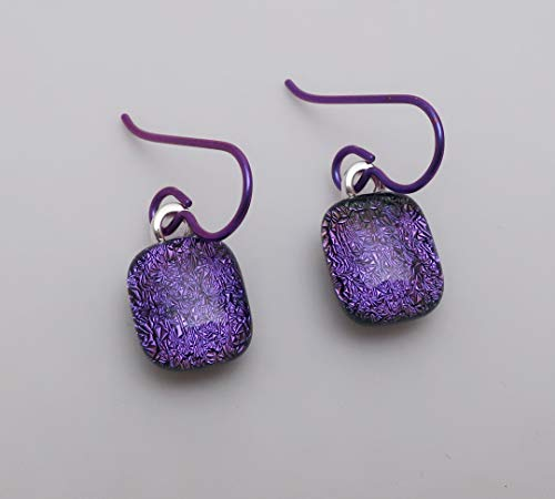 Purple Fused Dichroic Glass - Petite Purple fused dichroic glass dangle earrings hypo-allergenic niobium ear wires