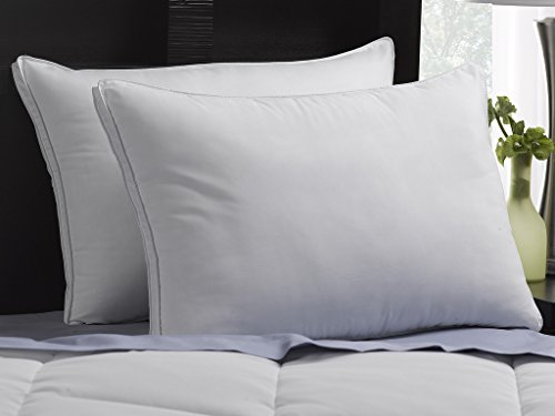 SOFT Exquisite Hotel Pillows Luxury Plush Gel Pillows (2-Pack) - Dust Mite Resistant & Hypoallergenic Peachy Soft Microfiber Gusseted shell - Stomach Sleeper Pillows - Queen Size (Hotel Pillow Firm Collection Down)