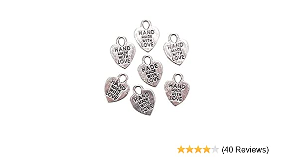 Silver Metal Handmade With Love Charms Sewing Crafts Charm Tags Set of 6 or 70