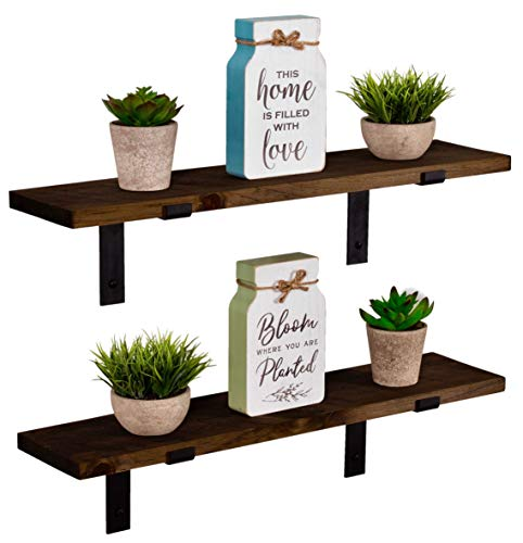 Imperative Décor Rustic Wood Floating Shelves Wall Mounted Storage Shelf with L -